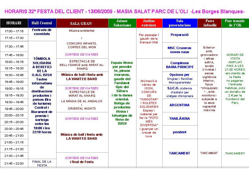 Festa del Client – Horari d'Activitats