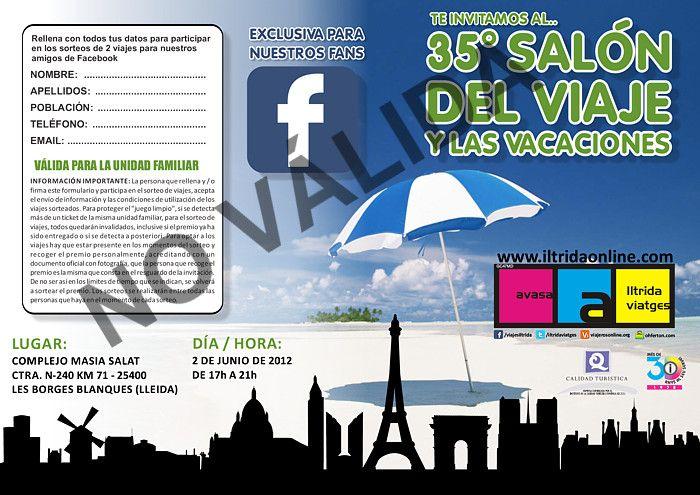 35 Salón del Viaje y las Vacaciones – (ESPECIAL AMIGOS FACEBOOK) FIESTA DEL CLIENTE ILTRIDA 2012 – Información / Informació