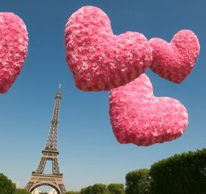 pink hearts eiffel tower paris