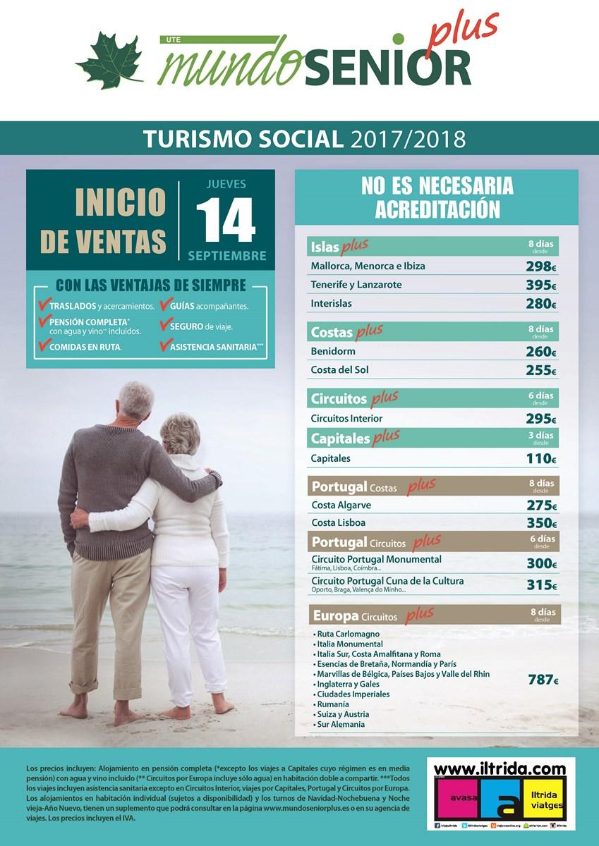 MundoSenior Plus: Viajes tipo imserso a Baleares, Canarias, Portugal, Circuitos Europeos, Circuitos Culturales, Capitales de provincia, Costa del Sol y Benidorm (sin precisar acreditacions)