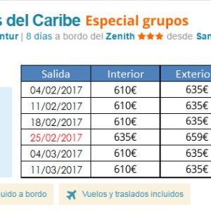Ofertas especiales para grupos de estudiantes: Crucero Caribe Todo Incluido por 610 Eur y ofertas capitales Europeas desde 398 EUR..